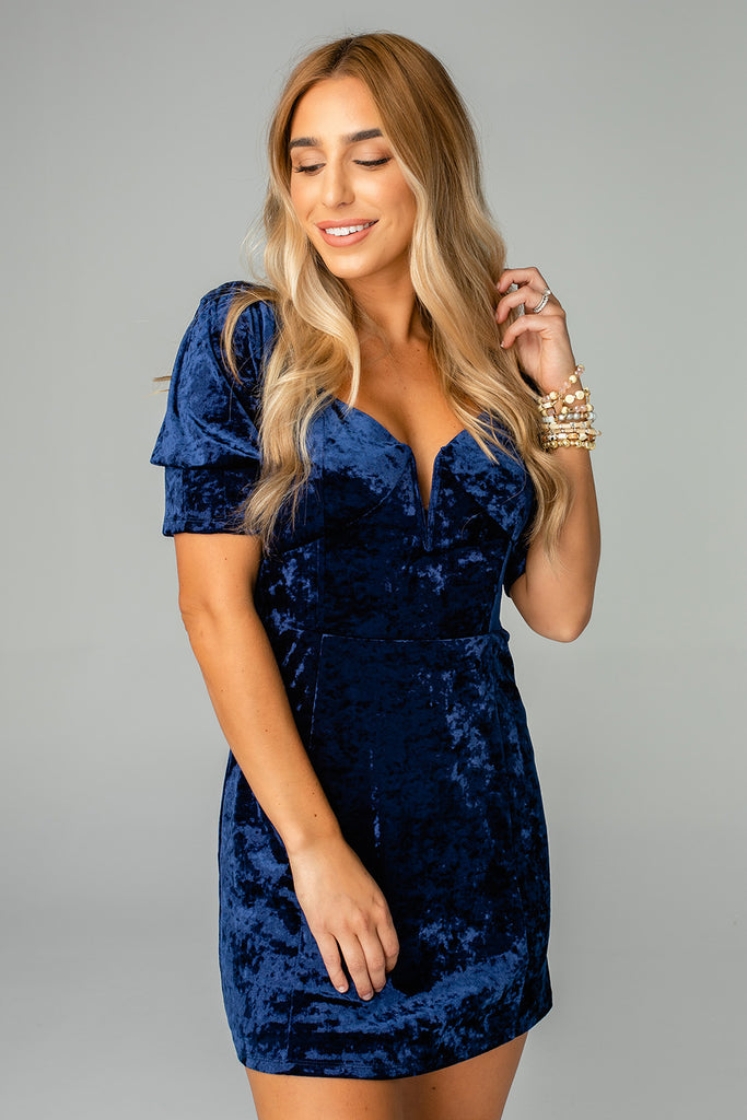 Dakota Fitted Crushed Velvet Mini Dress - Navy
