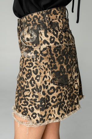 Sharon Distressed Mini Skirt - Leopard