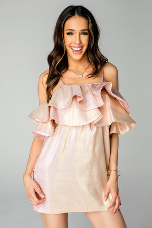 Kelsey Ruffled Chest Cocktail Dress - Rose