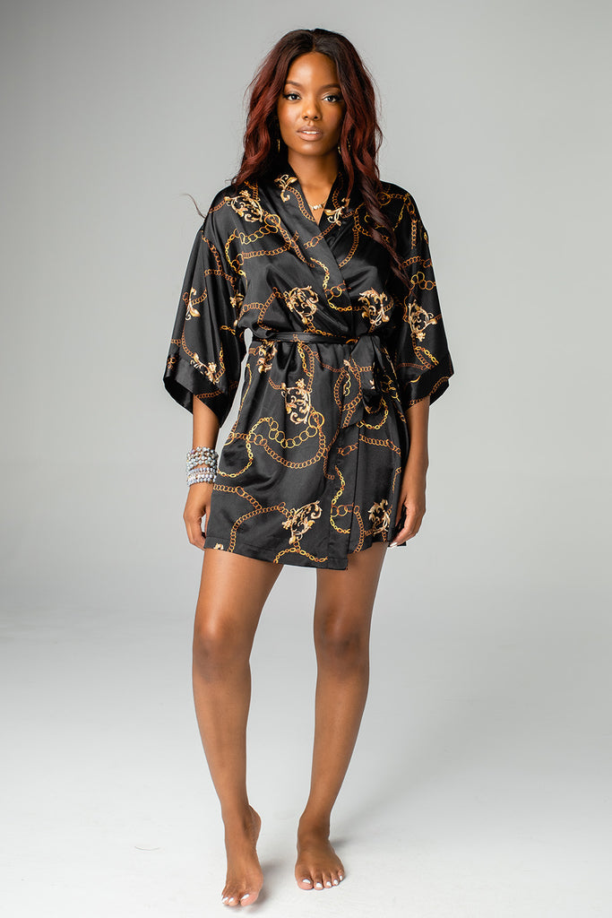 Hadid Silky Short Robe - Black Chains