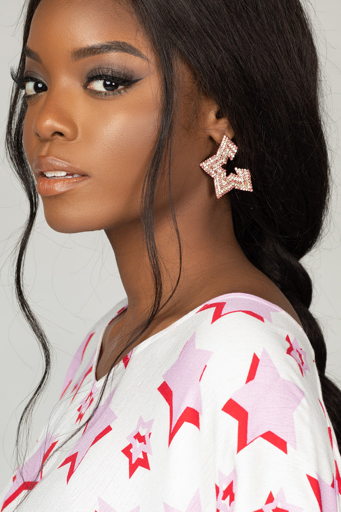 Aries Star Studded Earrings - Pink