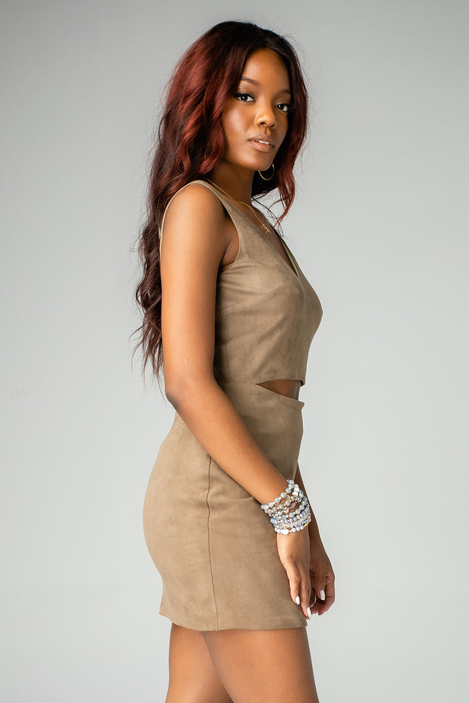 Stevie Fitted Cut Out Suede Dress - Olive