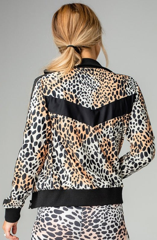 Vonn Elastic Long Sleeve Zip Up Jacket - Cheetah