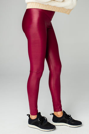 Jillian Lustrous High-Waisted Athletic Pant - Wine