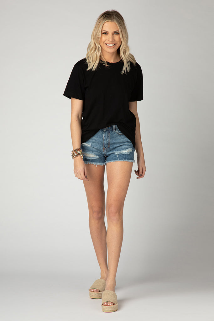 Angela Distressed Tee - Black