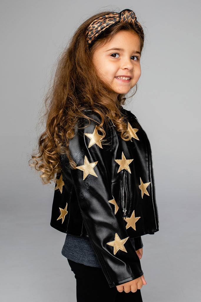 Jaden Girls Vegan Leather Star Detailed Jacket - Black/Gold