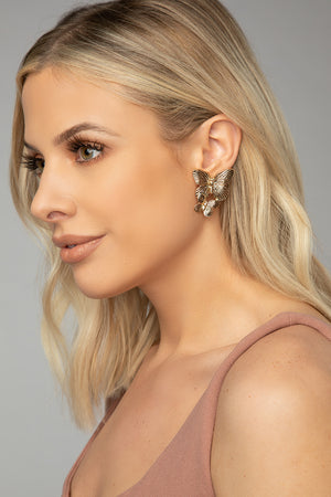 Double Butterfly Stud Earring - Gold