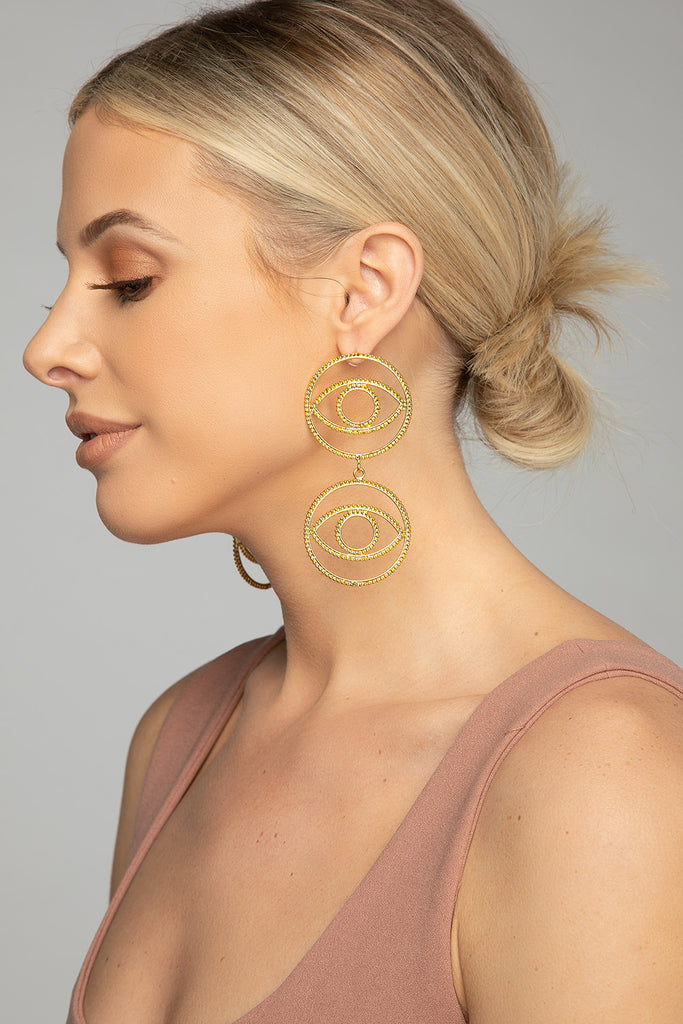 Eyes Drop Earring - Gold