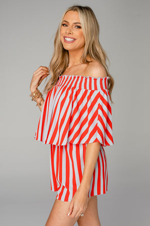 Newport Off the Shoulder Romper - Nautical