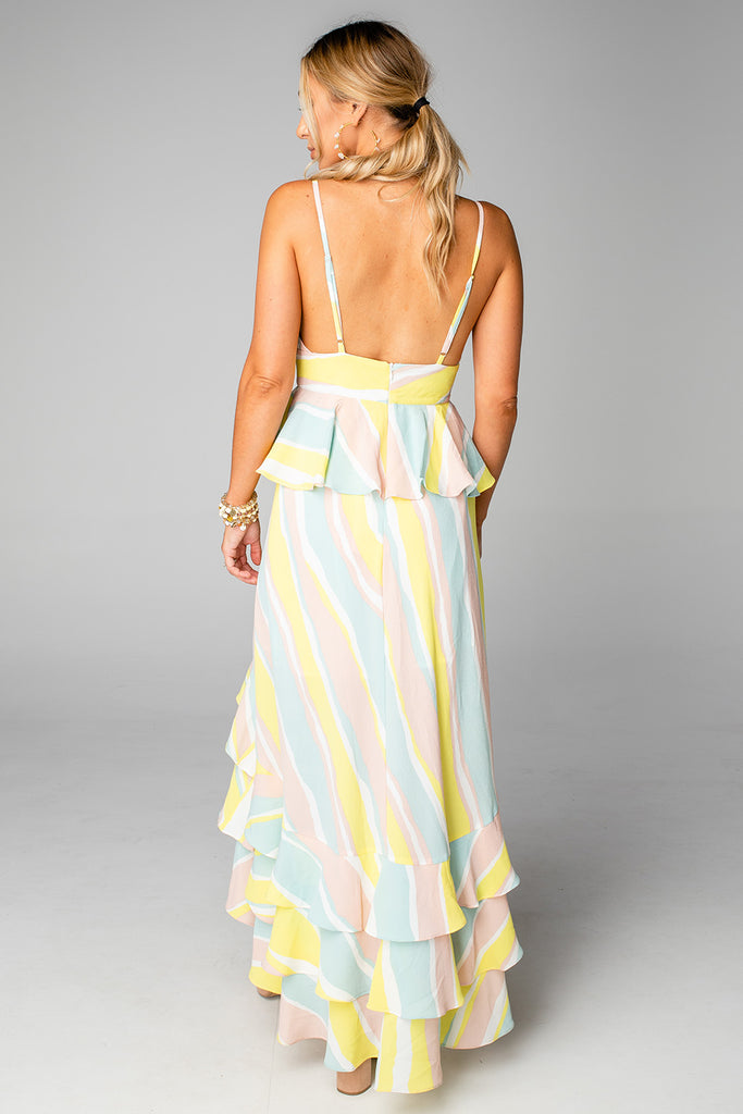 Georgia Ruffled Tiered Sleevesless High-Low Dress - Lemonade