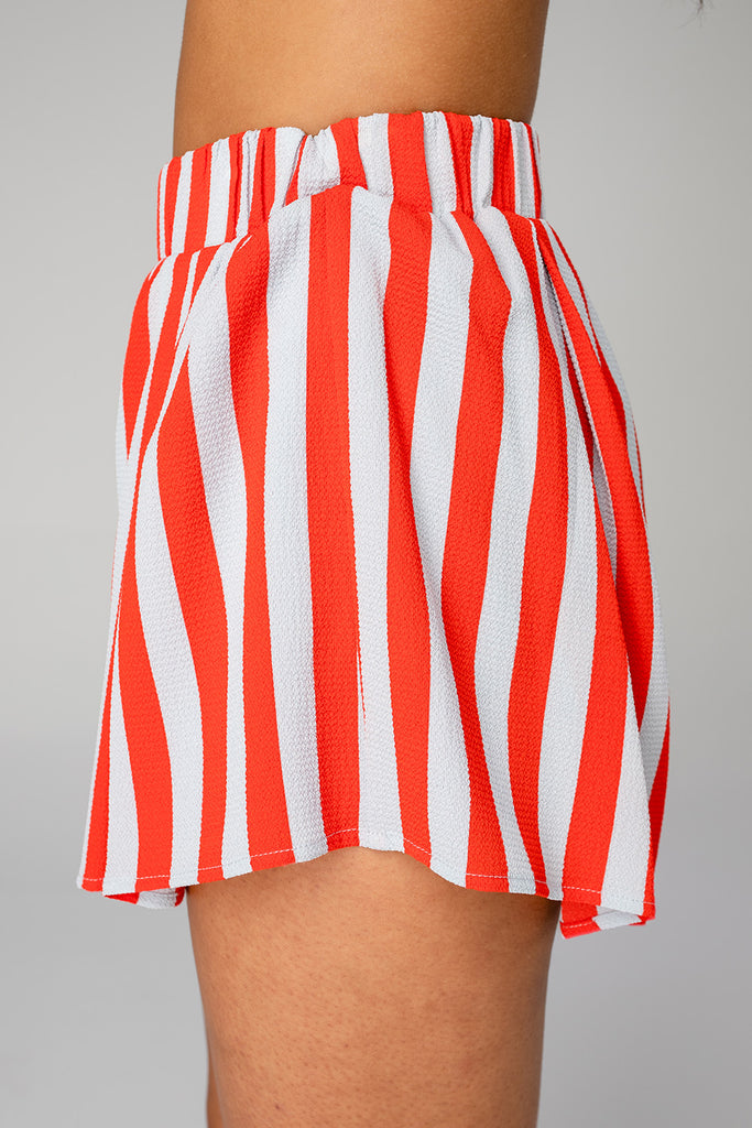 Shirley Elastic High-Waisted Shorts - Nautical