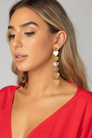 Heart Throb Drop Earring - Gold