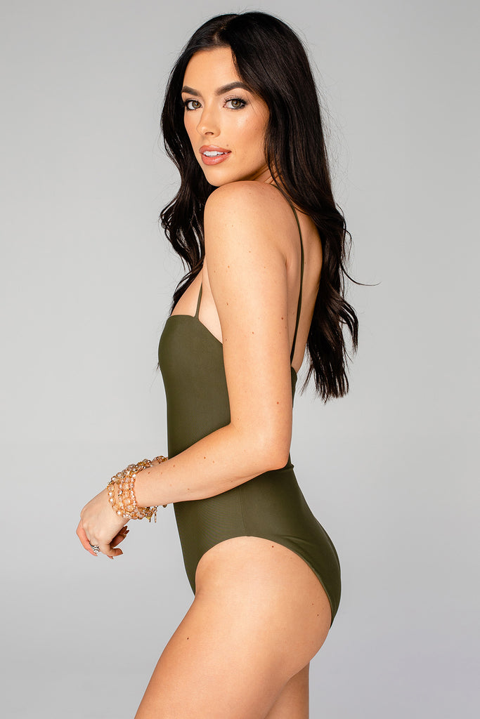 Polly Square Neck One Piece Swimsuit - Olive