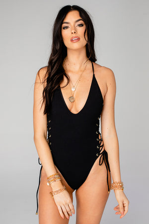 Petra Side Lace Up One Piece - Black