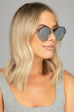 Farrah Round Metal Sunglasses - Blue