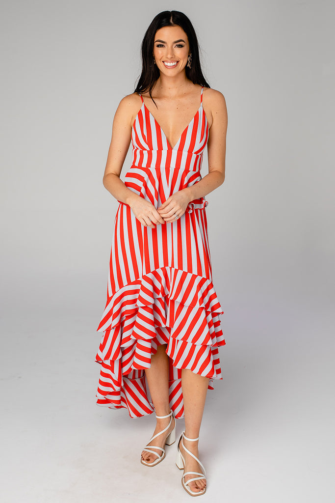Georgia Ruffled Tiered Sleeveless High-Low Dress - Nautical
