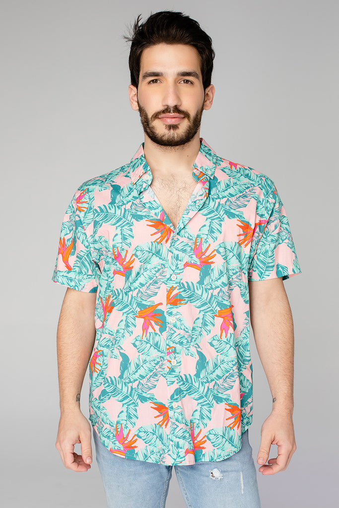 Robert Button Down Dress Shirt - Hibiscus