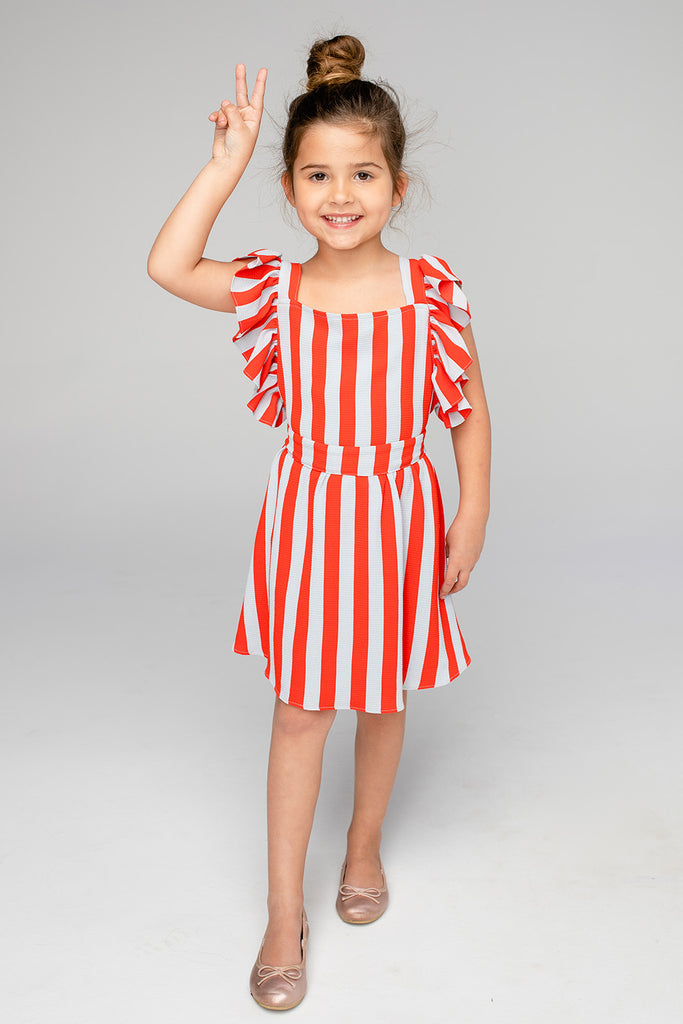 Shiloh Flutter Sleeve Dress - Nautical