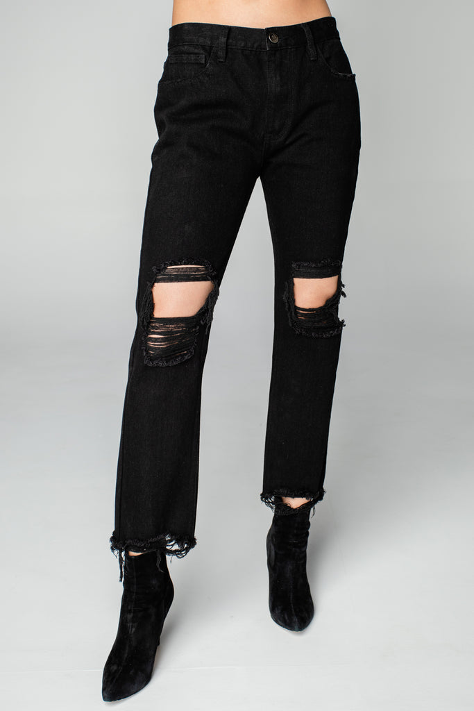 Rosco High-Waisted Distressed Boyfriend Jeans - Black