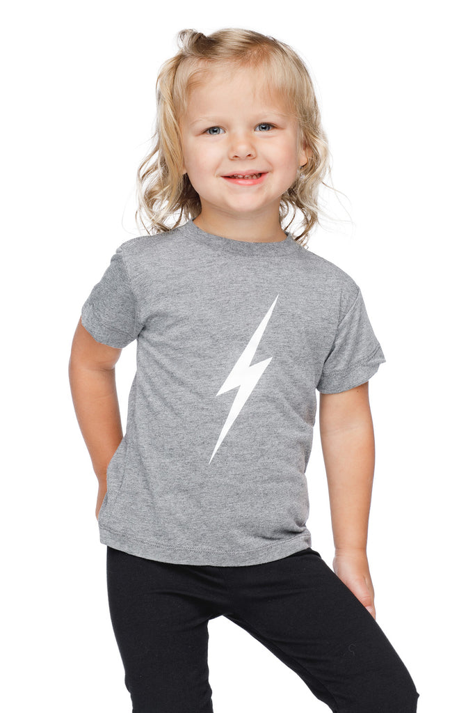 Selena Heathered Grey Kids Graphic Tee - Lightning Bolt