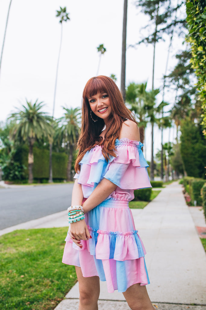 Kiera Ruffled Off the Shoulder Mini Dress - Cotton Candy