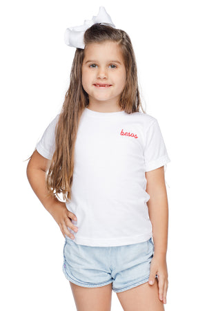 Symone Scooped Neck Cotton Kids Graphic Tee - Besos