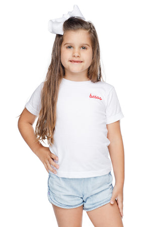 Raven Scooped Neck Cotton Kids Graphic Kids Tee - Besos
