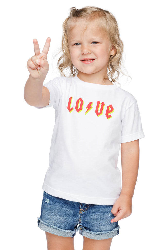 Raven Scooped Neck Cotton Kids Graphic Tee - LOVE