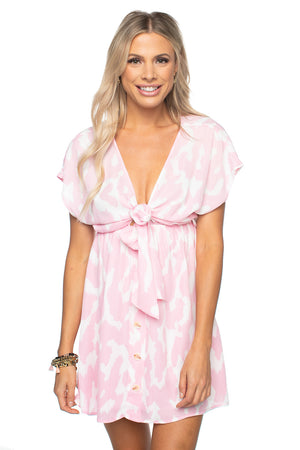 Amy Elastic Waist Babydoll Dress - Abstract Pink