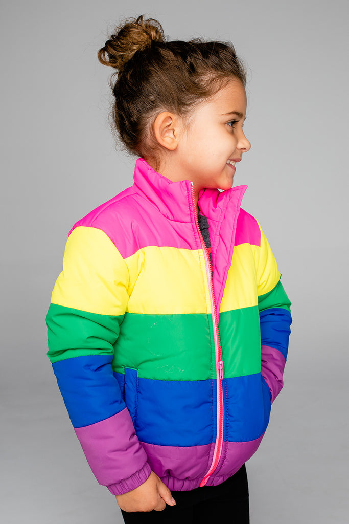 Willow Girl's Puffer Jacket - Rainbow