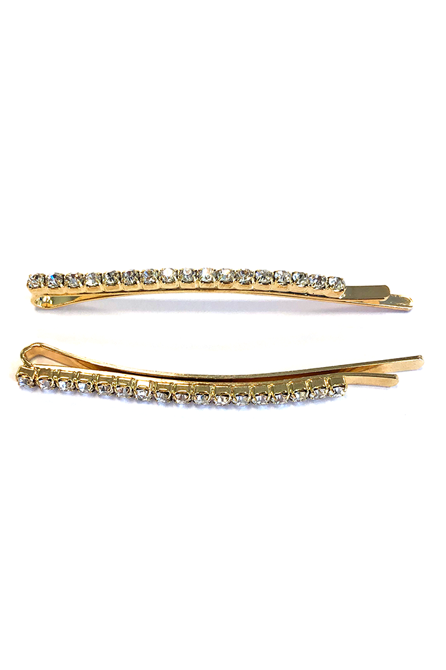 Bobby Embellished Diamond Hair Pin - Gold
