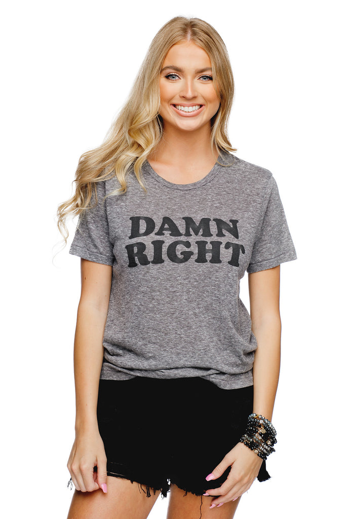 Brandon Heathered Grey Cotton Graphic Tee - Damn Right