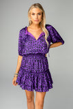 Ray Elastic Waist Mini Dress - Purple Cat