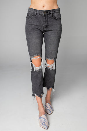 Rosco High-Waisted Distressed Boyfriend Jeans - Grey