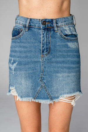 Sharon Distressed Denim Mini Skirt - Medium Wash