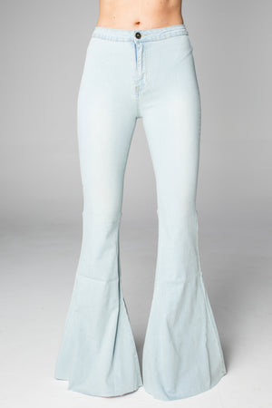 Moonshine High-Waisted Flared Jeans - Light Blue
