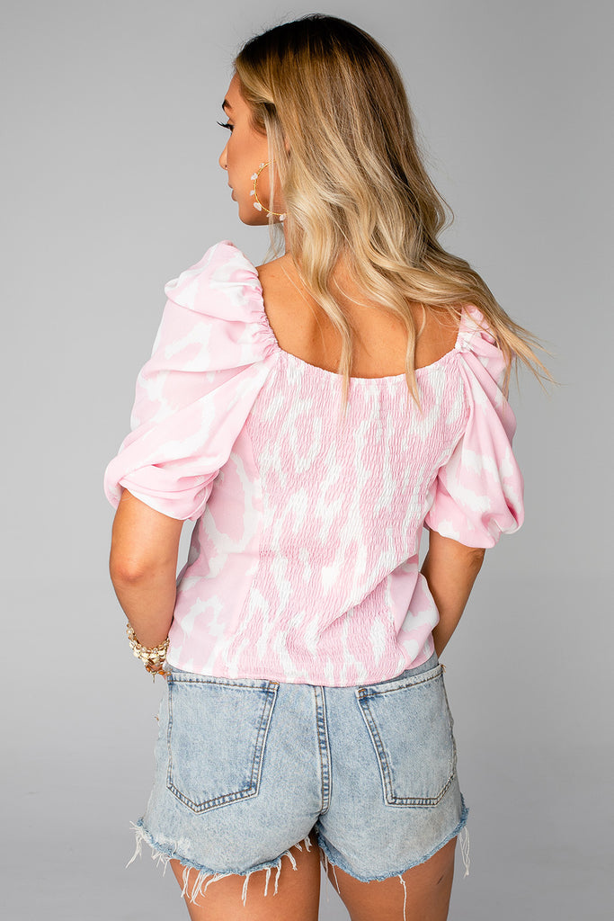 BuddyLove Demi Sweetheart Top - Abstract Pink