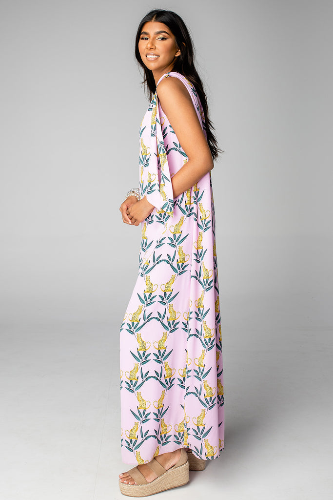 Goddess One Shoulder Maxi Dress - Jungle Cat