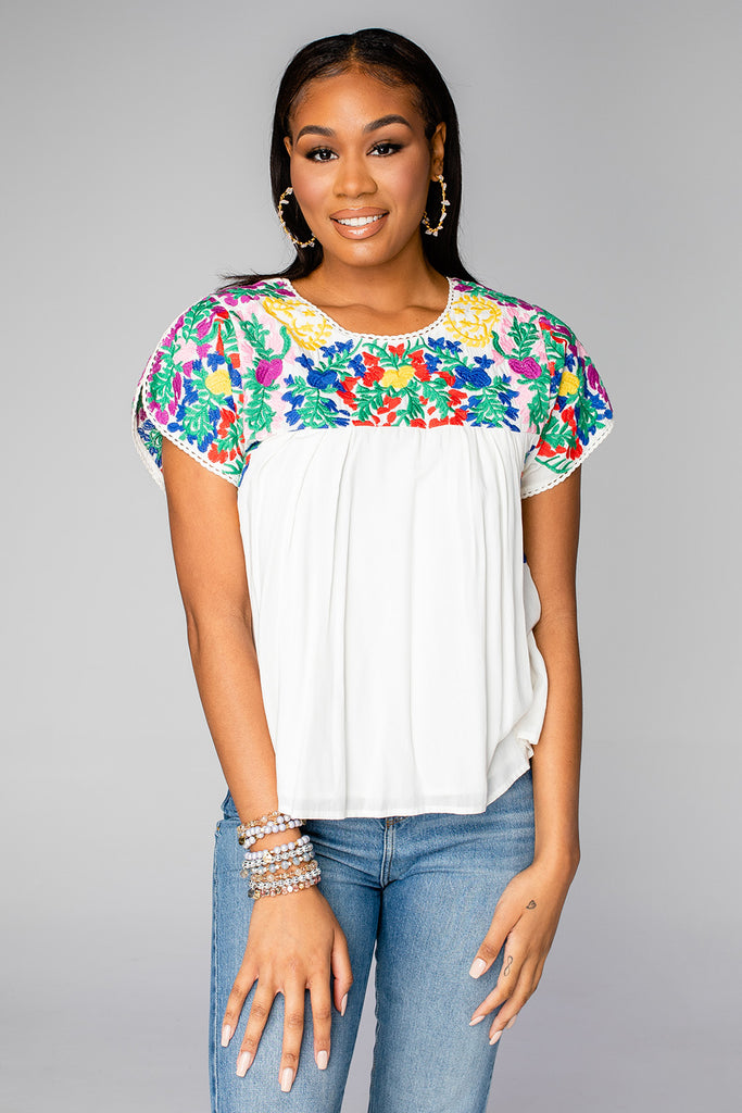 BuddyLove Greek Short Sleeved Embroidered Top - Multi