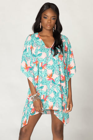 Pina Colada Tunic Dress - Hibiscus