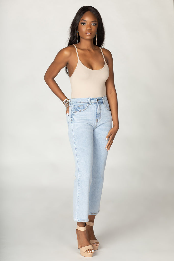Uma Scoop Neck Bodysuit - Taupe