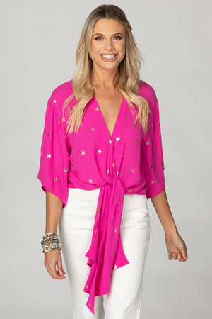 Muse Quarter Length Sleeve Tie Front Top - Pink Stars