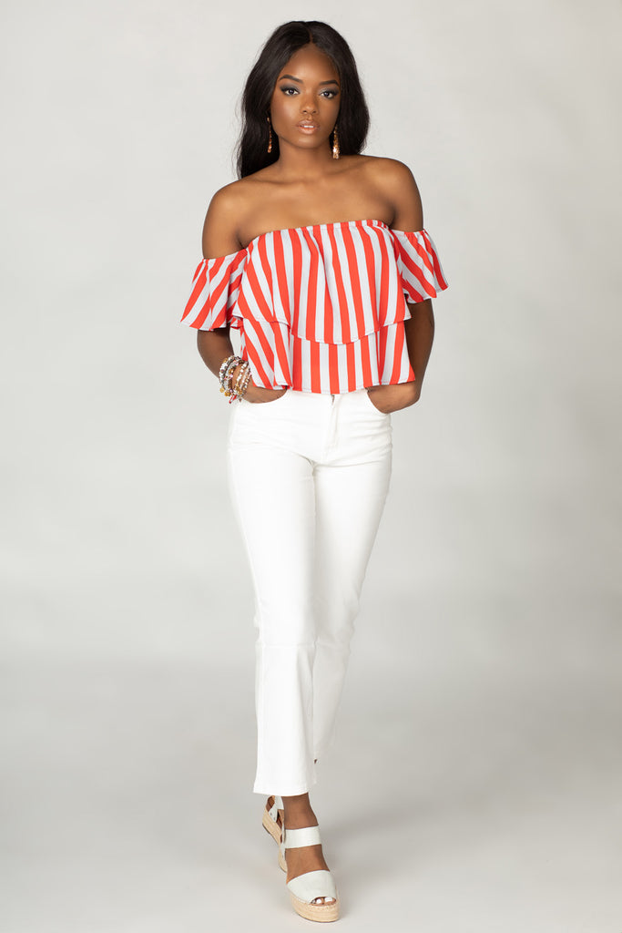 Laverne Off the Shoulder Top - Nautical