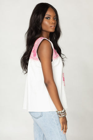 Maribel Embroidered Tank - Two Tone Pink