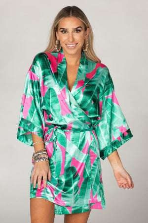 Hadid Silky Short Sleeved Tie Closure Bathrobe - Aruba