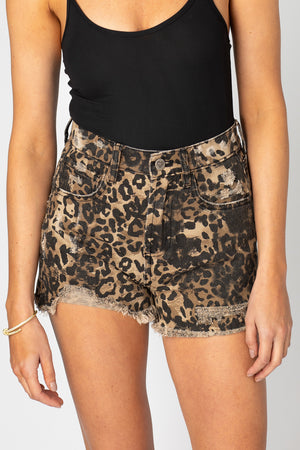 Stone Distressed High-Waisted Shorts - Leopard