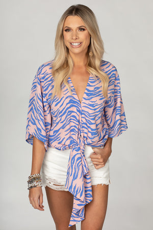 Muse Quarter Length Sleeve Tie Front Top - Blue Tiger