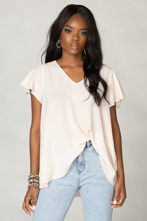 Avril Flutter Sleeve V-Neck Top - Pastel Snake