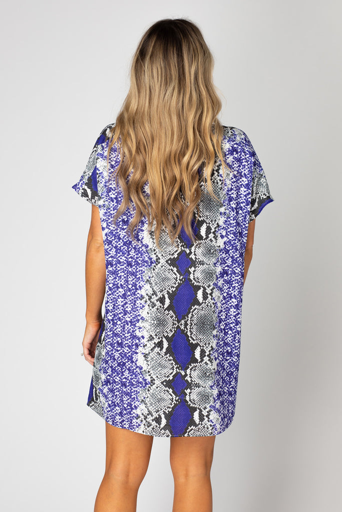 Baker V-Neck Shift Dress - Purple Boa