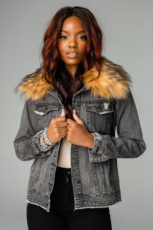 Hazel Fur Collared Denim Jacket - Black